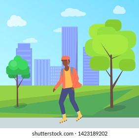 Man wearing helmet, person character going on rollerblades in city park with bench and trees. Boy rollerblading in casual clothes, urban activity vector