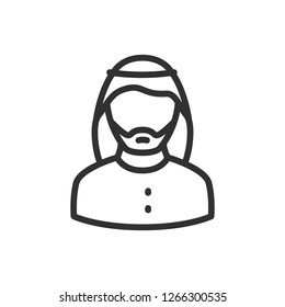 man in wearing a keffiyeh. linear icon. Line with editable stroke