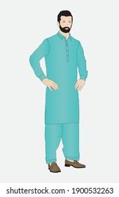 Man wearing the local dress of Pakistan. Shalwar kameez vector