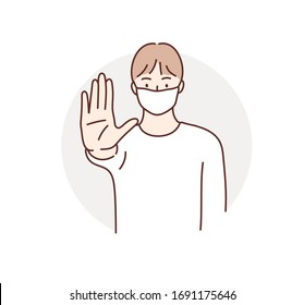 Man wearing medical face mask and showing stop sign with hand palm. NO! Hand drawn style vector design illustrations.