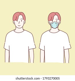 Man wearing medical mask and no wear. prevent disease, flu, air pollution, contaminated air, world pollution concept. Hand drawn character flat style vector.
