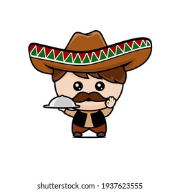 a man wearing a Mexican hat carrying food