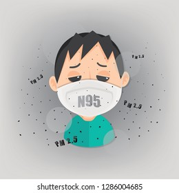 Man is wearing n95 mask to protect outdoor air pollution. PM 2.5 in dust meter.