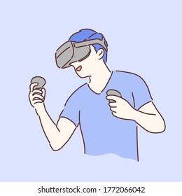 Man wearing and playing with VR Gear. Hand drawing character style vector.