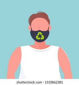 man wearing protective face mask with recycle sign smog air pollution virus protection recycling concept guy profile avatar male cartoon character portrait flat