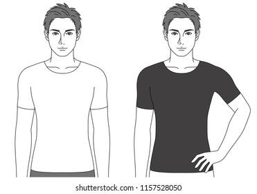 Man wearing a shirt, 2 poses