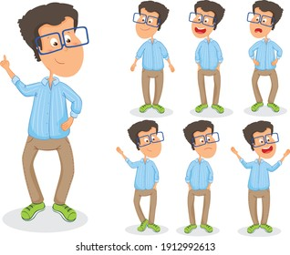 Man wearing shirt and blue glasses. Set with different positions vector illustration isolated