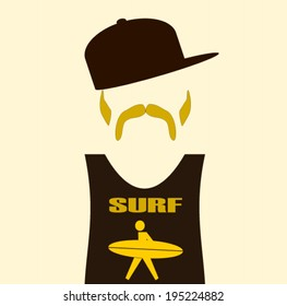 man wearing surf shirt and baseball cap