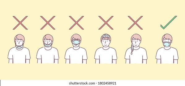 Man wearing surgical mask. How to wear mask for prevent disease, flu, air pollution, contaminated air, concept. Hand drawn flat character style vector,