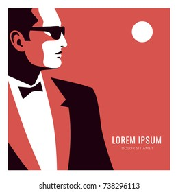Man wearing tuxedo, bow tie and sunglasses. Red-white-black vector illustration