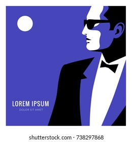 Man wearing tuxedo, bow tie and sunglasses. Blue-white-black vector illustration