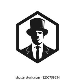 Man wearing tuxedo and top hat with   silhouette chiaroscuro face in hexagon badge. Vector logo.