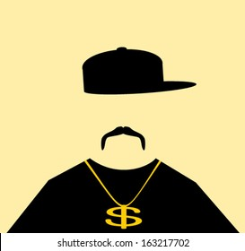 man wearing urban hip hop fashion with gold chain and baseball cap