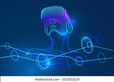 Man Wearing Virtual Reality Glasses Amazing Experience In Abstract Vr World Vector Illustration