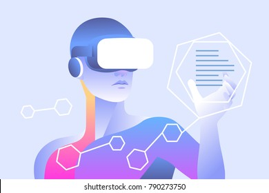 Man wearing virtual reality glasses and touching vr interface. Vector illustration