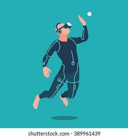 Man wearing virtual reality headset. Vector flat design illustration