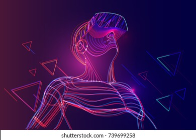 Man wearing virtual reality headset. Abstract vr world with neon lines. Vector illustration - Shutterstock ID 739699258