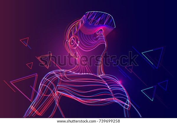 Man wearing virtual reality headset. Abstract vr world with neon lines. Vector illustration