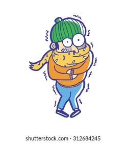 man wearing winter fashion get freezing