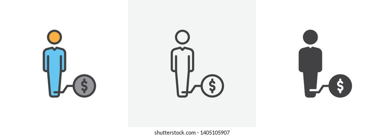 Man with weight debt icon. Line, glyph and filled outline colorful version, Debtor outline and filled vector sign. Symbol, logo illustration. Different style icons set. Vector graphics