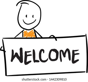 Man with Welcome board. Doodle style vector illustration object isolated hand draw. Line art cartoon design character