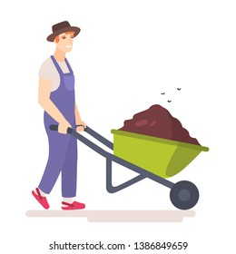 Man with wheelbarrow full of dirt or ground. Flies hover above the garden wheel barrow with manure. Gardener carries a wheelbarrow with organic fertilizers. Flat vector illustration.