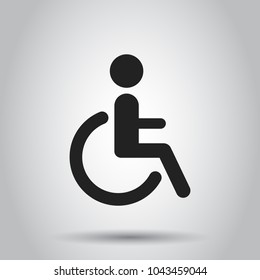 Man in wheelchair vector icon. Handicapped invalid people sign illustration. Business concept simple flat pictogram on isolated background.