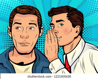 Man whispering gossip or secret to his friend. Colorful vector illustration in pop art retro comic style.