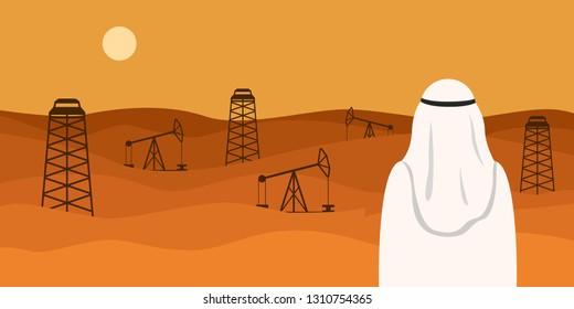 Man in white kandura looking at oil field in desert. Vector illustration.