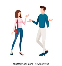 Man in white pants and blue pullover standing. Women in blue jeans and pink pullover standing. No face design. Cartoon flat illustration isolated on white background.