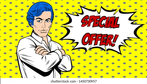 A man in a white shirt with arms folded and serious confident expression. Successful European freelance businessman standing. Sale vector banner. Vector, Retro Comic book cartoon, Pop Art  vintage