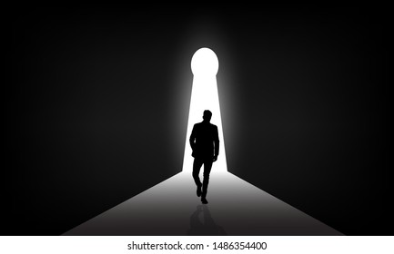 The man who is walking towards the light. The door to success. The man who is walking towards success. The light at the end of the tunnel.a man walking to the door.