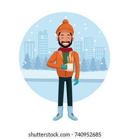 Man with winter clothes