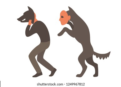 the man in the wolf mask. wolf masked man. problem of personality. The true face. psychology.