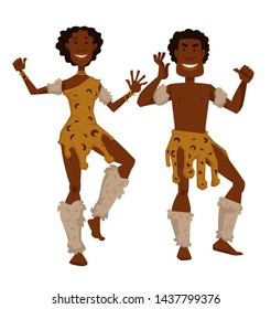 Man and woman in animal skin and fur dancing African tribe vector isolated male and female characters native aborigines desert dwellers traditions and customs ritual dance tourism and culture.