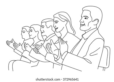 Man and woman applause. Vector black and white illustration.