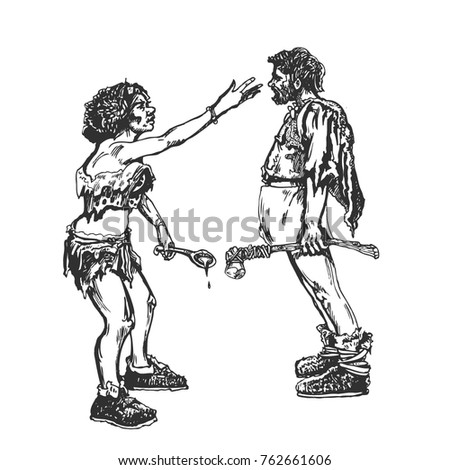Man Woman Argue Primitive People Graphic Stock Vector Royalty Free