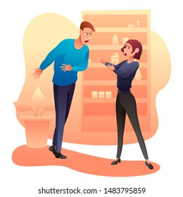 Man and woman arguing flat vector illustration. Wife and husband quarrel and swear cartoon characters. Boyfriend and girlfriend shouting at each other. Yelling aggressive people isolated clipart