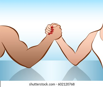 Man and woman arm wrestling of as a symbol for battle of the sexes or gender fight. Isolated vector illustration on white background.