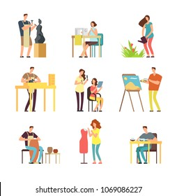 Man and woman artists in art design field. Sculptor, artist, florist. Vector cartoon people set isolated fashion designer and potter, florist and sculptor profession illustration