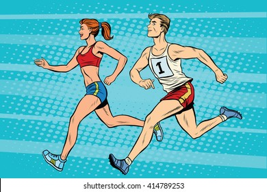Man woman athletes running track and field summer games