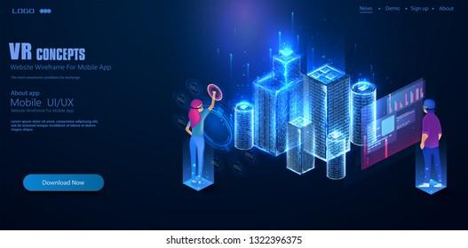 3d Buildings Virtual Hologram Stock Illustrations, Images