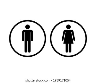 Man and woman avatar icon set. Male and female gender profile symbol. Men and women wc logo. Toilet and bathroom button sign. Vector Silhouette illustration image.