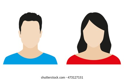 Man and woman avatar profile. Male and Female icon. Vector illustration.
