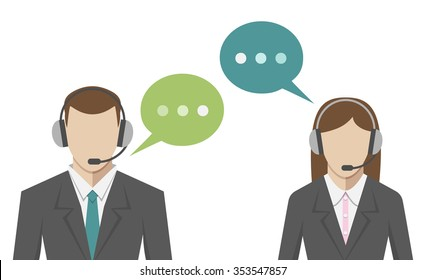 Man and woman avatars in call center, flat style. Technical support operators portraits with headsets and speech bubbles. EPS 8 vector illustration, no transparency