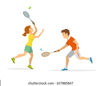 man and woman badminton player