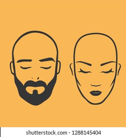 Man and woman bald