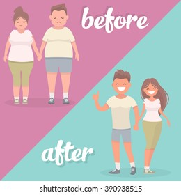 Man and a woman before and after the loss of excess weight. Vector illustration of a flat design