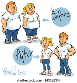 Man and Woman before and after weight loss program and training . Hand drawn funny cartoon characters, sketch, isolated