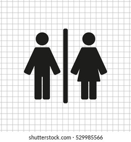 Man and Woman  - black vector icon